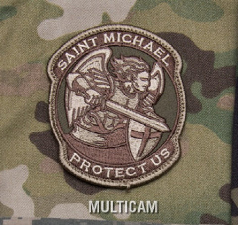 PROTECT US SAINT MICHAEL MODERN HOOK BACKING PATCH - MULTICAM