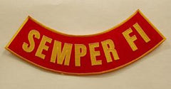 SEMPER FI BOTTOM LOWER ROCKER PATCH - RED & ORANGE
