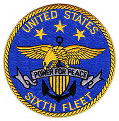 US NAVY SIXTH FLEET MILITARY PATCH - POWER FOR PEACE