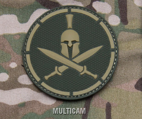 SPARTAN HELMET TACTICAL COMBAT MORALE PVC HOOK PATCH - MULTICAM