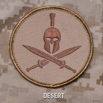 SPARTAN HELMET - DESERT - TACTICAL BADGE COMBAT BLACK OPS MORALE VELCRO MILITARY PATCH