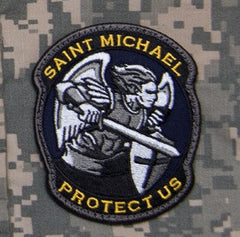 PROTECT US SAINT MICHAEL - COLOR - TACTICAL BADGE MORALE VELCRO MILITARY PATCH MODERN