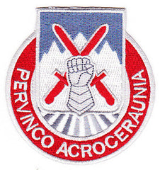 ARMY 10th Mountain Infantry Division Special Troop Battalion Military Patch PERVINCO ACROCERAUNIA STB-28