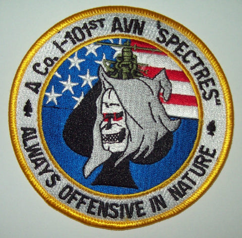 "ARMY A CO. 1-101st AVIATION ""SPECTRES"" REAPER SPADE MILITARY PATCH"
