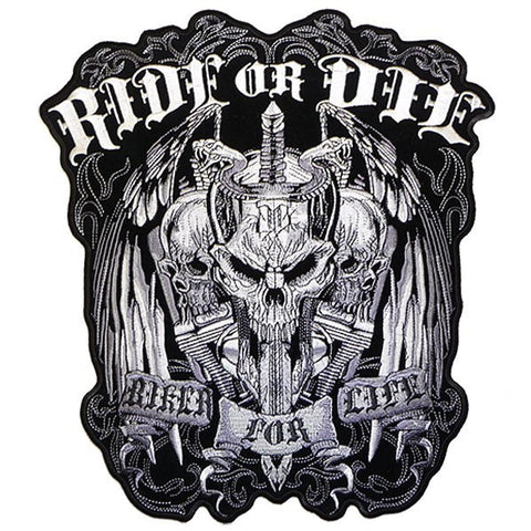 "RIDE OR DIE ""BIKER FOR LIFE"" MILITARY VET/BIKER PATCH"