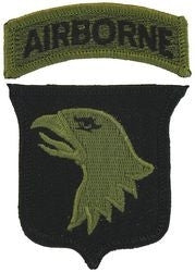 ARMY 101st AIRBORNE DIVISION MILITARY PATCH & TAB OD GREEN