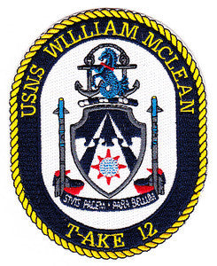 T-AKE 12 USNS WILLIAM MCLEAN US NAVY Dry Cargo/Ammunition Ship Military Patch