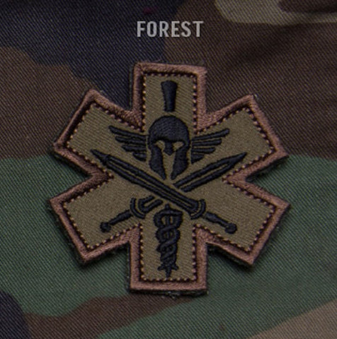 TACTICAL COMBAT MEDIC BADGE SPARTAN - FOREST
