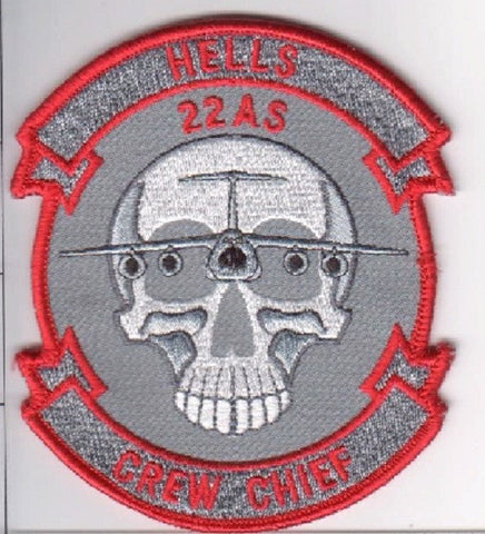 "USAF 22nd AIRLIFT SQUADRON ""HELLS CREW CHIEF"" MILITARY PATCH"