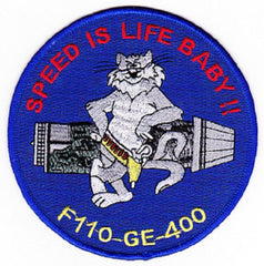 NAVY F-14 TOMCAT F-110-GE-400 ENGINE Military Patch SPEED IS LIFE