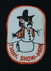 THINK SNOW-MAN Funny Humor Drugs Novelty Sew On Vintage Patch