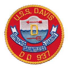 DD-937 USS DAVIS Forest Sherman - Class Destroyer Military Patch DYNAMIC DAUNTLESS DARING
