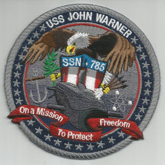 USS JOHN WARNER SSN 785 Virginia Class Nuclear Powered Submarine Military Patch Ver A