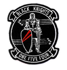 VF-154 Navy Aviation Fighter Squadron ONE FIVE FOUR Military Patch - BLACK KNIGHTS