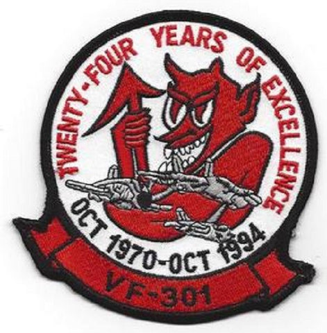 NAVY F-14 TOMCAT Vertical Fighter Squadron VF-301 Military Patch TWENTY FOUR YEARS OF EXCELLENCE