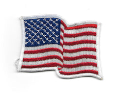 Vintage United States WAVY FLAG PATCH - White Border