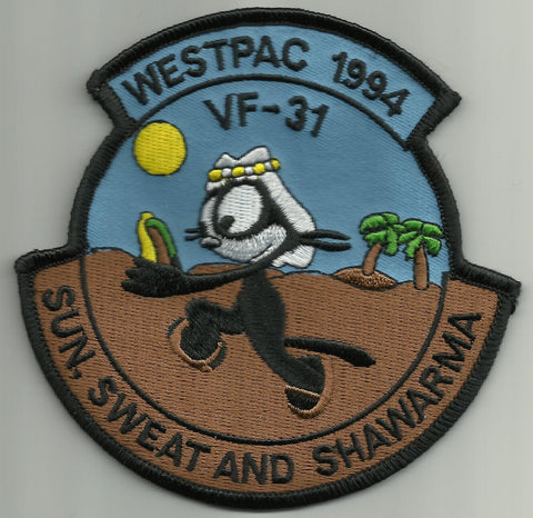 WESTPAC 1994 VF-31 TOMCATTERS MILITARY PATCH - SUN, SWEAT, AND SHAWARMA
