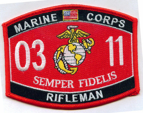 USMC Military Occupational Specialty 0311 Rifleman MOS Military Patch