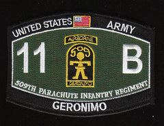 ARMY 509th PIR 11 B Airborne Geronimo MOS HAT Military Patch