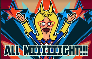 Linda cosplays Allmight on a poster!