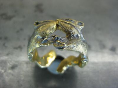 "DECO ""Kissing ring (gold) -real sapphire-"""