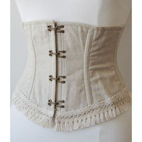 EXCENTRIQUE 15SP Linen Fringe Corset(NATURAL)