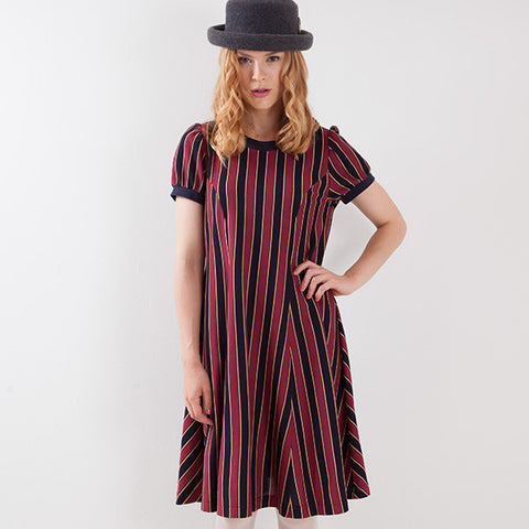 EXCENTRIQUE '15A Regimental Knit Dress wine
