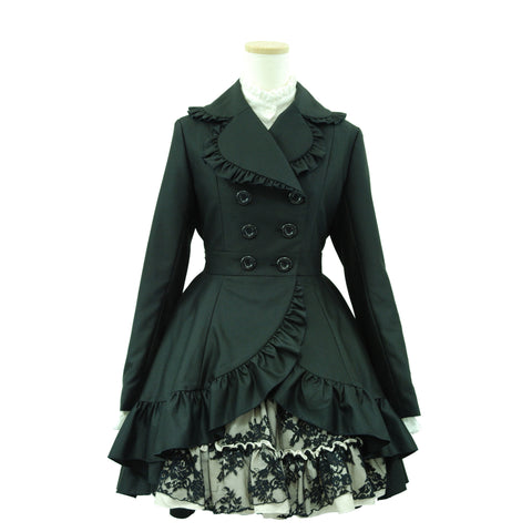 "Sheglit Long Tail Frill Coat black"" / 1 item left"