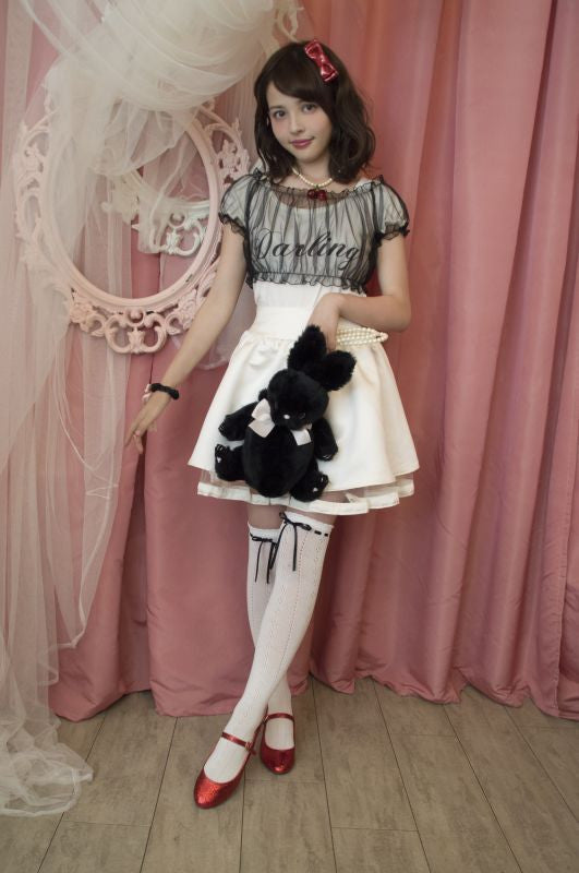 RoseMarie seoir ribbon lace socks(black ribbon)