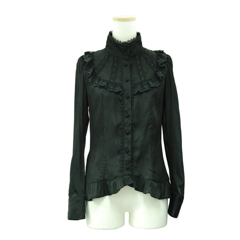 "Sheglit ""Stand collar frilled blouse (black)"""