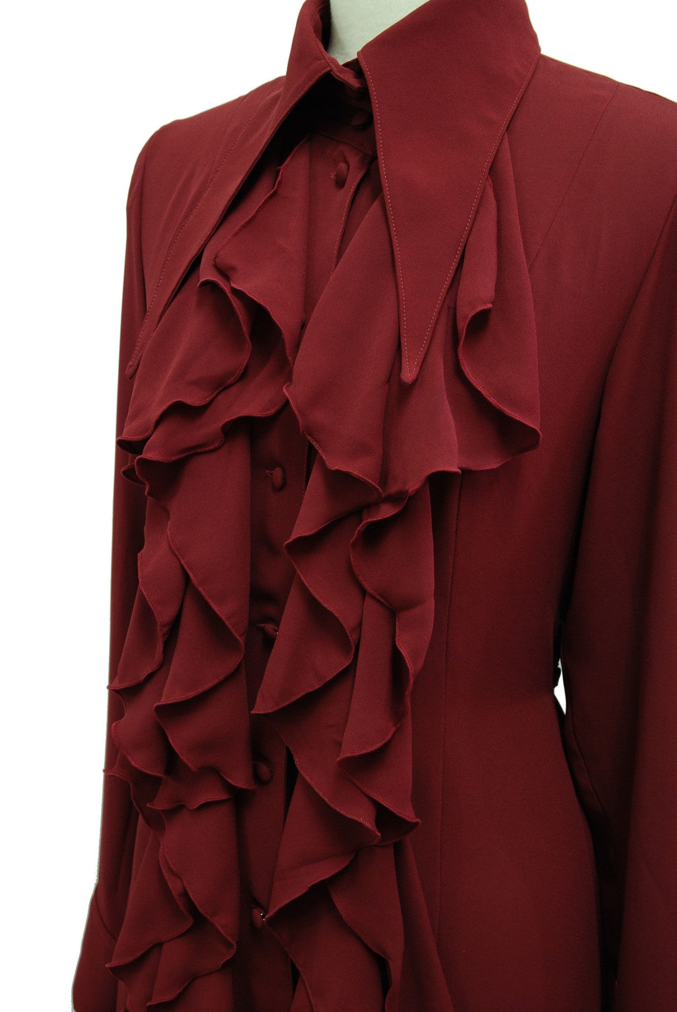 "Sheglit ""Raffle frilled long blouse(bordeaux)"""