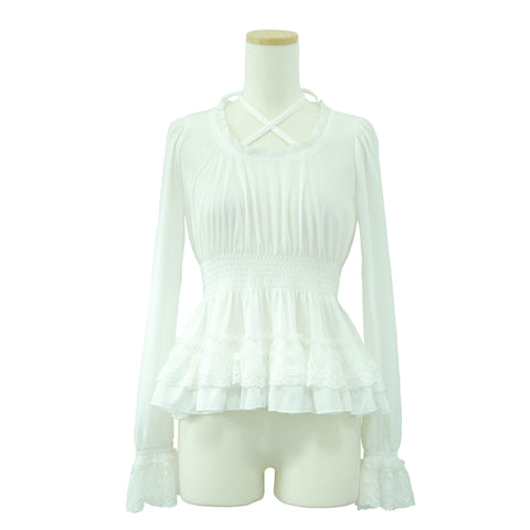 "Sheglit ""Tiered Frill Top(white)"""
