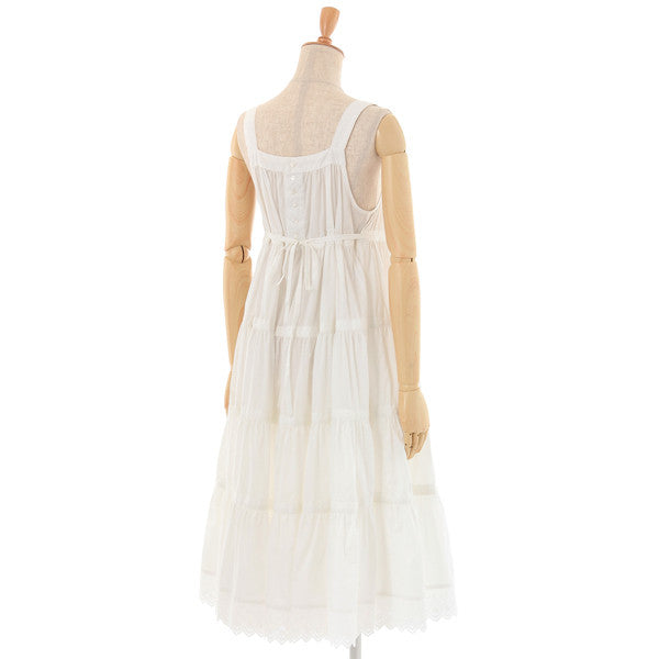 "EXCENTRIQUE""'14W Cotton Lawn Tiered Dress -WHT-"""