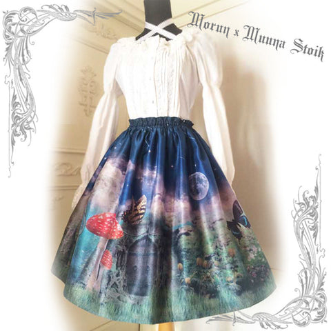 "Morun×Muuna Stoik ""Mushrooms' Temptation Skirt -midnight-"""