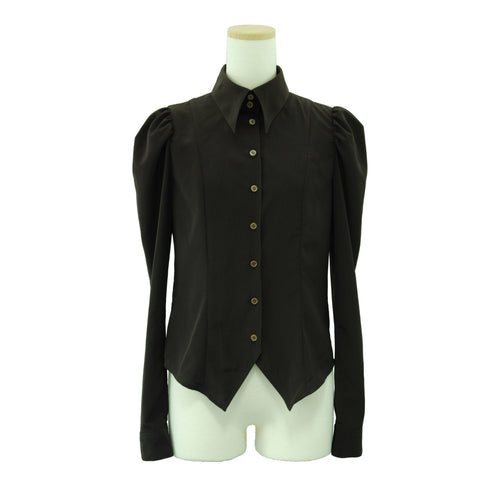 "Sheglit ""Classical blouse with ribbon jabot -brown-"""