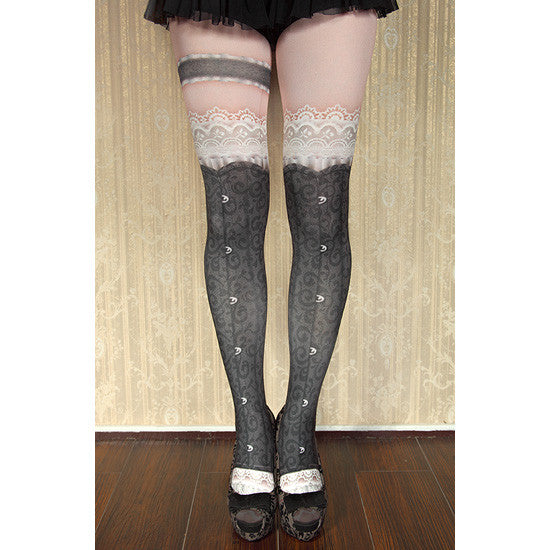 "abilletage ""corset tights busk -black-"""