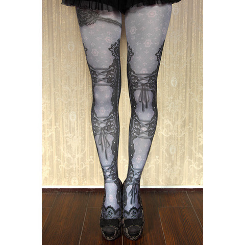 "abilletage ""corset tights lace -grayish purple-"""