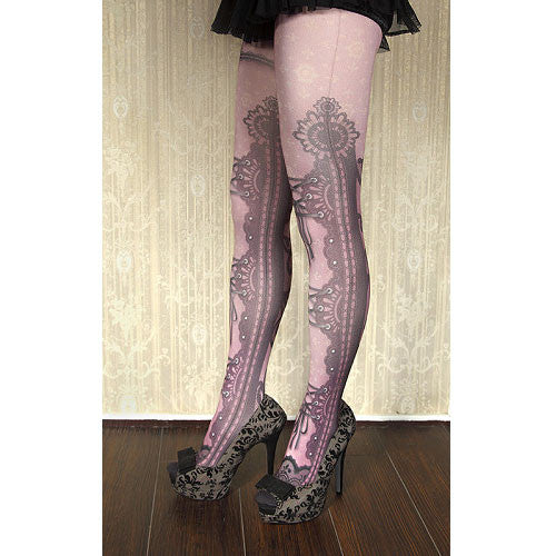 "abilletage ""corset tights lace -smoky pink-"""
