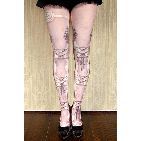 "abilletage ""corset tights lace -dolly pink-"""