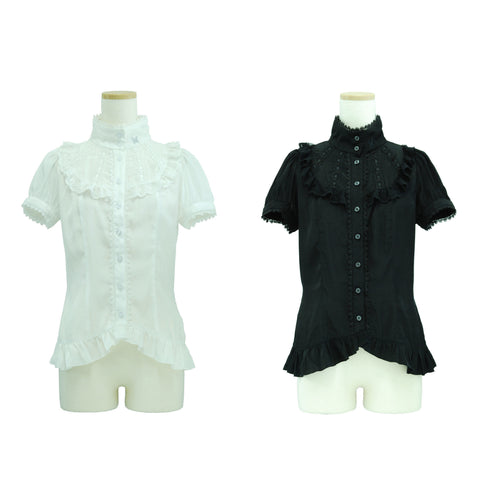 "Sheglit ""Frilled shirt stand collar"""