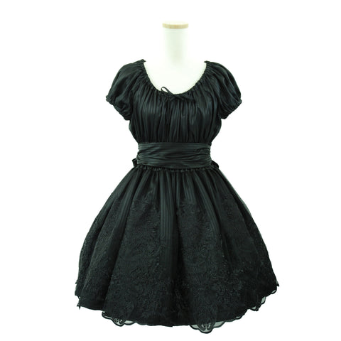 "Sheglit ""Shadow Stripe Lace Dress(black)"""