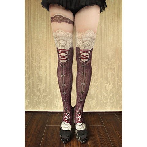 "abilletage ""corset tights victorian -antique bordeaux-"""