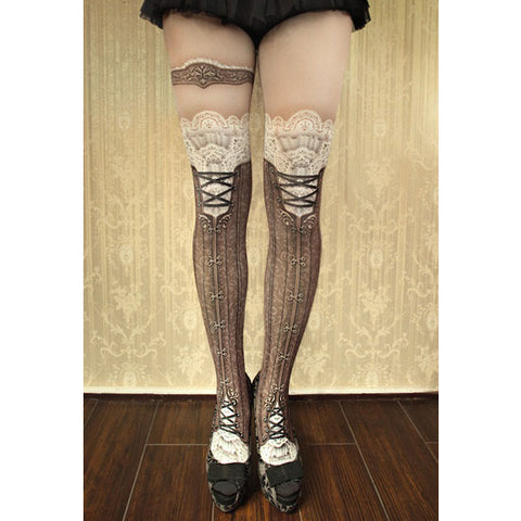 "abilletage ""corset tights victorian -brown-"""