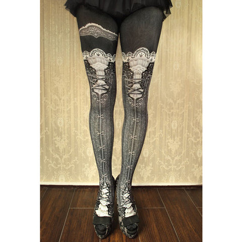 "abilletage ""corset tights victorian -russian gray-"""
