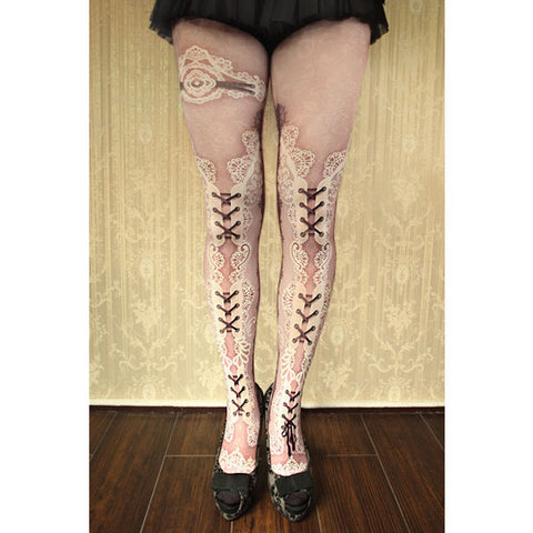 "abilletage ""corset tights double lace -dolly pink-"""