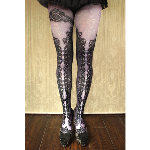 "abilletage ""corset tights double lace -purple-"""