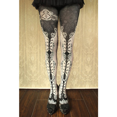 "abilletage ""corset tights double lace -white-"""