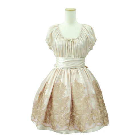 "Sheglit ""Shadow Stripe Lace Dress(pink beige)"""