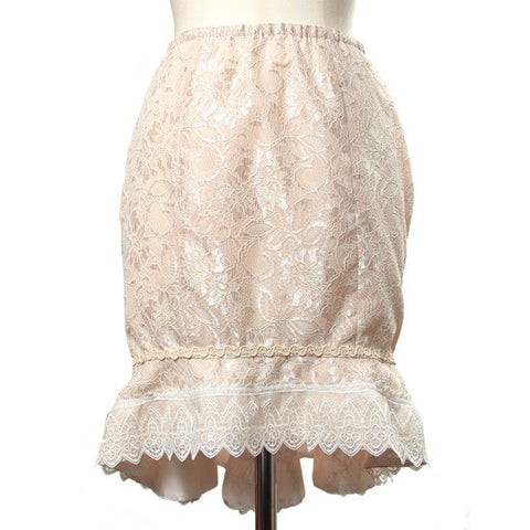 "abilletage ""Double lace mermaid skirt pink beige"""