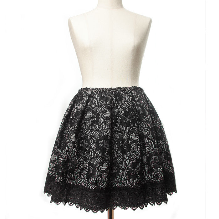 "abilletage ""Double lace tacked skirt black"""